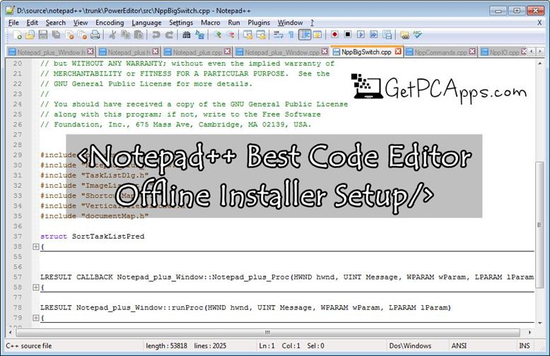 Download Notepad++ Code Editor Installer Setup for Windows 7, 8, 10